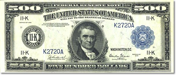 Rare Fr 1132 K 1918 500 Federal Reserve Note Being Offered