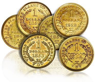 Dhalonega Gold, US Gold. Gold dollars, US Coins, Rare Date Gold