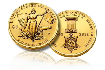 Medal Of Honor $5 commemorative Gold coin