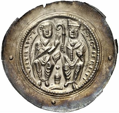 striking bracteate of Siegfried of Hersfeld Abbey (1180-1200).