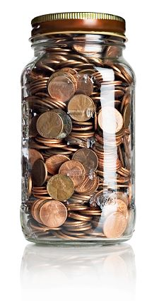 a jar of pennies (give the gift of coins)