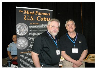 Rod Gillis, ANA Numismatic Educator and Doug Mudd, ANA Museum Curator at the GNA Coin & Currency Show. (Photo by Richard Jozefiak)