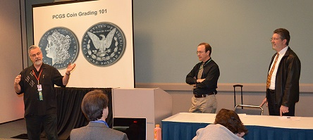 PCGS experts David Hall (left), Michael Sherman (right) and Ron Guth (not pictured) again will be featured speakers at PCGS coin grading classes on June 8, 2013 at the Long Beach Expo.