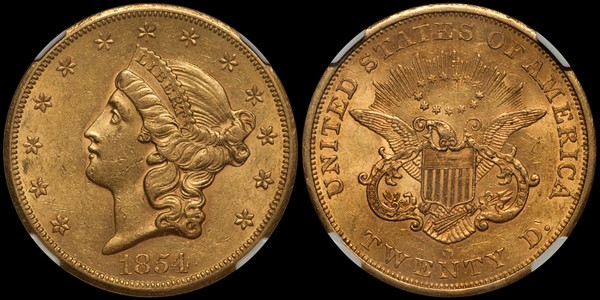 1854-S $20.00 NGC AU58+ CAC with original surfaces