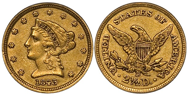 The 1843-D Small D Quarter Eagle