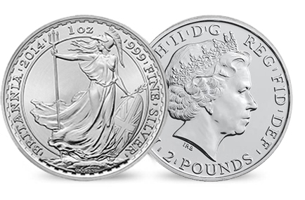 £2 Britannia denticled reverse paired with Lunar Horse non-denticled obverse