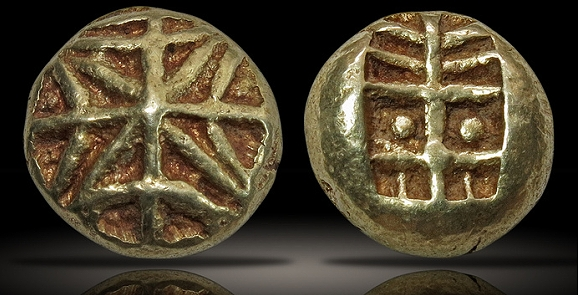 ancient gold coin - IONIA, Uncertain. Circa 650-600 BCE. EL Hekte – Sixth Stater (9mm, 2.30 g). Lydo-Milesian standard. Geometric type.