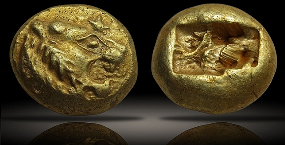 KINGS of LYDIA. temp. Sadyattes. Circa 630-620 BCE. EL Trite – Third Stater (13mm, 4.70 g). Sardes mint. - first coins