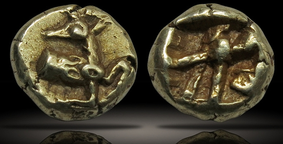 IONIA, Ephesos. Electrum 1/24th stater. ca. 625-600 BCE, 6mm, 0.6g. Forepart of a stag with head facing left.
