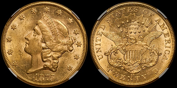 "1875-CC $20.00 NGC MS61 with ""standard"" lighting and processing"