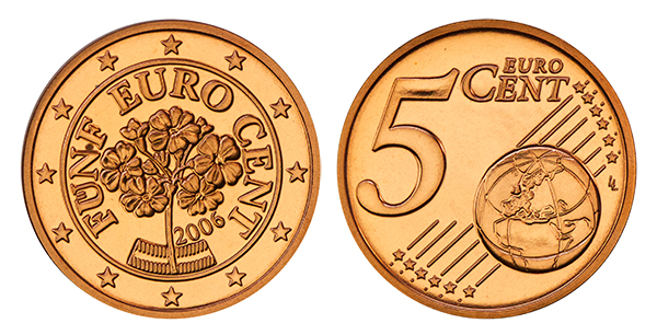 Collecting The Coins Of Austria 5 Euro Cent