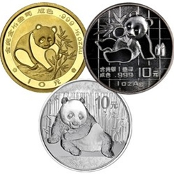 Chinese gold and silver pandas