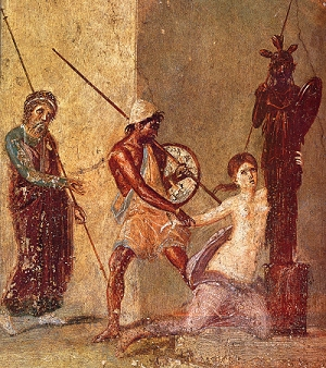 Ajax the Lesser drags Cassandra from Temple of Athena at TROY. Detail from a Roman fresco in Pompeii.