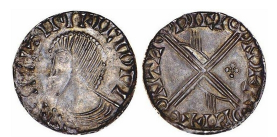 Hiberno-Norse. Phase III.Long Cross and Hand Coinage, ca. 1035-1060. Imitating Aethelred II Long Cross types. Penny. Spike-haired bust l.; blundered legends. Rv. Long cross, hands in two of the angles, quatrefoil of pellets in one angle. 0.73 grams. SCBI Dolley 100, S.6132.