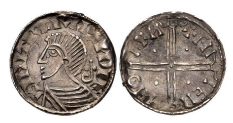 Hiberno-Norse. Sihtric III Olafsson. Circa 995-1036. AR Penny (17mm, 1.17 g, 3h). Phase II Coinage, Long Cross type, blundered legends. Uncertain mint signature and moneyer. Struck circa 1018-1035. Draped bust left; inverted crozier (bishop's crook) behind / Voided long cross, with triple crescent ends; pellet in each angle. O'S Type 3; SCBI 32 (Ulster), 112 (same dies); SCBC 6125A.