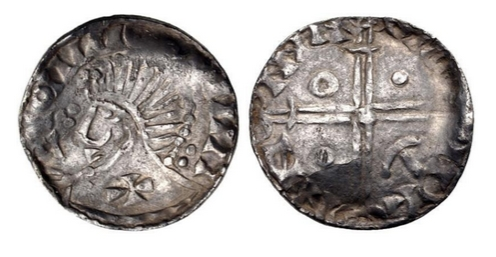 Hiberno-Norse. Phase V. Circa 1065-1085/95. AR Penny (17mm, 0.76 g). Long Cross type. Draped bust left; trefoil before nose, cross on shoulder / Voided long cross, with central pellet and triple crescent ends; annulet, two pellets and hammer (or anchor) in quarters. Blackburn –; O'S –; SCBI 8 (BM), 157-161 (same rev. die); SCBI 22 (Copenhagen), 2-; SCBI 32 (Belfast), –; D&F 28; SCBC 6138.