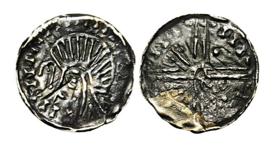 Hiberno-Norse , AR penny, 1095-1110, Dublin. Phase VI. Long cross. Obverse : Stylized bust r, crook in field left. Reverse : Long cross with pellets and rods in angles. Pseudo-inscription. Ref.: S., 6187. 0,46g.
