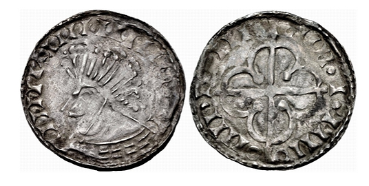 Hiberno-Norse. Circa 1110-1150. AR Penny (20mm, 0.83 g). Phase VII (semi-bracteate) coinage, 'Scrabo' with Quatrefoil type. Uncertain mint signature and moneyer. IIII+IIIIIIII[...], bust left / · IIII · · IIIIO OIIII · IIII ·, quatrefoil over long cross. O'S 65; SCBI 8 (BM) 251–2; D&F 33; SCBC 6191. Good VF. Very rare.