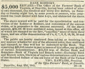 Reward Notice for 1841 Danville, VA Bank Robbery