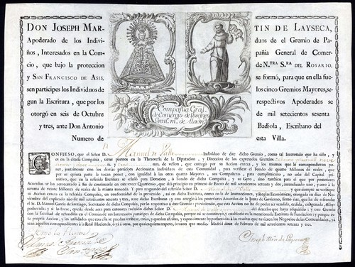 Compania General de Comercio de los Cinco Gremios Mayores certificate for one share, 1773