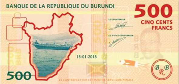 Back of the new Burundian 500-BIF note