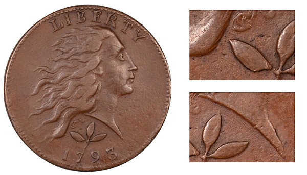 Counterfeit 1793 Flowing Hair Cent - Tooling Marks; Raised Lines