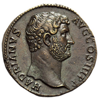 Roman bronze coin of Hadrian, restored 2015 - obv