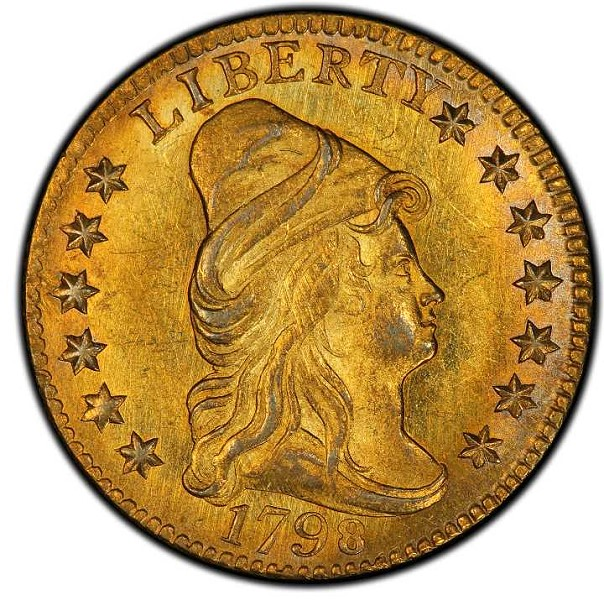 1798 Capped Bust Right Quarter Eagle. Bass Dannreuther-1. Rarity-5+. Close Date, Four Berries. Mint State-65