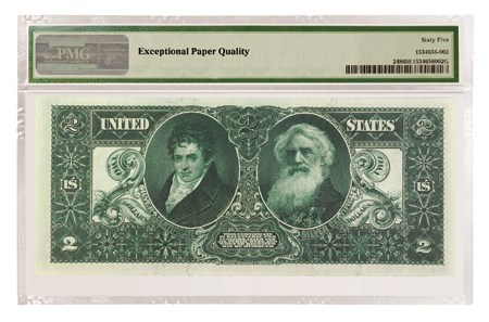 1896 $2 Educational Note Silver Certificate, Reverse
