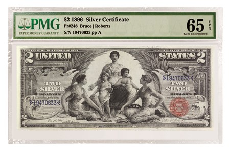 1896 $2 Educational Note Silver Certificate