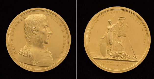 William Henry Harrison Congressional Gold Medal, obverse and reverse