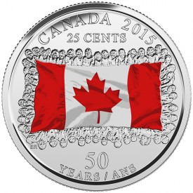 colorized 25-cent circulating  coin commemorating the 50th anniversary of the Canadian Flag