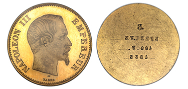 FRANCE. Napoleon III. 1856-A (Hand, Anchor) Gilt Bronze Uniface Essai 100 Francs Pair, Obverse & Reverse.