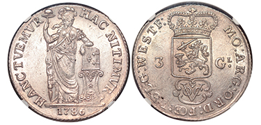 NETHERLANDS EAST INDIES. West Friesland. 1786 AR 3 Gulden.