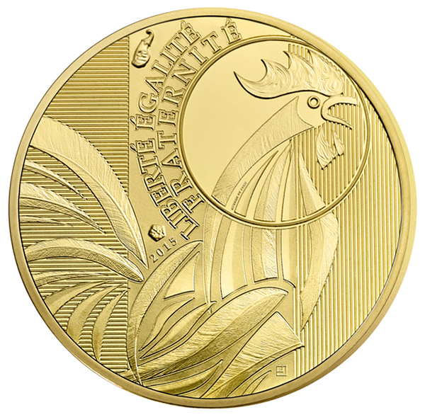 france 2015 rooster 100 euro gold coin. Black Bedroom Furniture Sets. Home Design Ideas