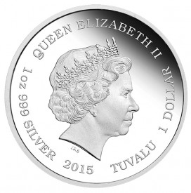 2015 Tuvalu Alice in Wonderland. Ian Rank-Broadley, Queen Elizabeth II portrait