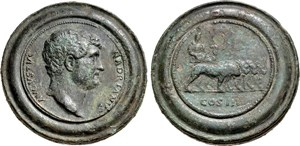 medallion of the Roman Emperor Hadrian (A.D. 117 to 138)