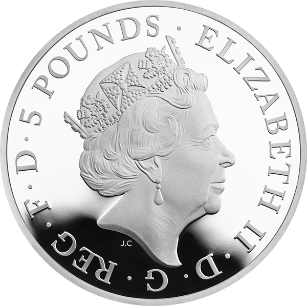 Jody Clark portrait, Queen Elizabeth II: The_Second_Birthday_of_HRH_Prince_George_of_Cambridge_2015_UK__5_Silver_Proof_ukp07857_obv_tone