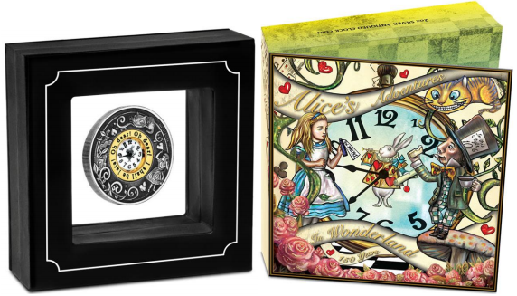 Alice in Wonderland 150th Anniversary silver coin display - Perth Mint