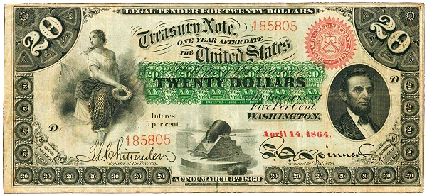 Fr. 197a. 1864 $20. Interest Bearing Note. PCGS Very Fine 25.