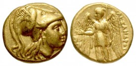 KINGDOM OF MACEDON. Alexander III, 336-323 BC. Gold Stater. Scarce lifetime issue.