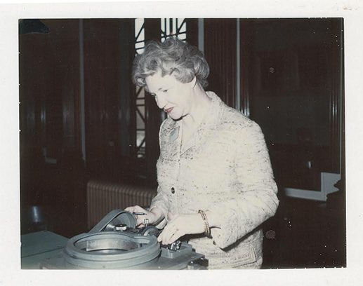 Margo Russell fulfilling her duties as part of the 1964 United States Assay Commission.
