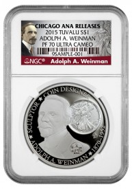 Tuvalu 2015 Adolph A. Weinman $1 Silver coin in special NGC holder, ModernCoinMart