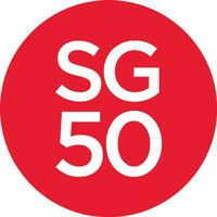 Singapore 50th Anniversary red dot logo