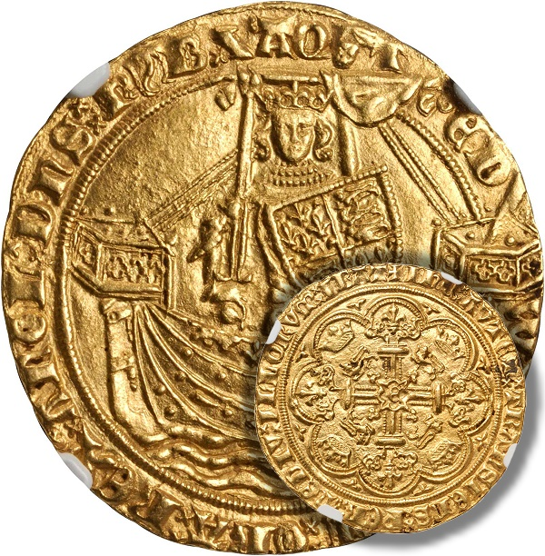 GREAT BRITAIN. Noble, ND (ca. 1361-69). Edward III (1327-77). NGC MS-63