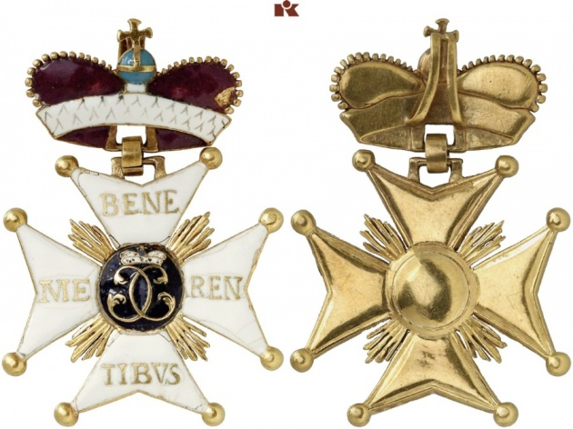 Wuerttemberg. Military Order of St. Charles of Wuerttemberg. Grand Cross Badge. Extremely rare. II-III.