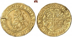 Albrecht Alcibiades, 1541-1554. Gold gulden 1549, Schwabach. Only specimen known to be in private possession. Very fine