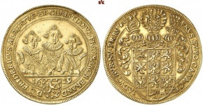 Frederick, Albrecht and Christian, 1625-1634. 5 ducats 1629, Nuremberg. Unique. Extremely fine
