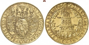 Wolf Dietrich of Raitenau, 1587-1612. 10 ducats 1594. Tower coinage. Extremely rare. Extremely fine