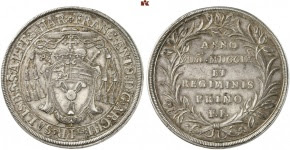 Francis Anthony of Harrach, 1709-1727. Reichsthaler 1709. 3rd specimen known to exist. Extremely fine